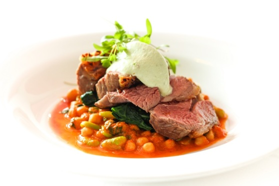 Kentish lamb, chickpea, broad bean, tahini & mint, feta, cumin & green chilli puree, harissa sauce